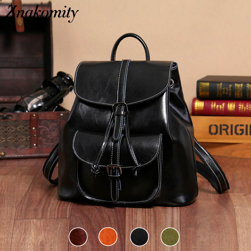 Znakomity Black drawstring small women backpack bag women Genuine leather backpack shoulder bag Cow leather vintage backpack vintage designer women backpack genuine leather bag famous brand cow leather women shoulder bag casual female backpack
