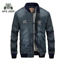 AFS JEEP New Retro Warm Denim Jackets Mens Jeans Coats Winter Jackets NEW Brand Thicken Denim