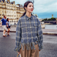 2017 Autumn Vintage Tassel Plaid Patchwork Full Sleeve Decorated Pearl T Shirt Women Loose Turn Down