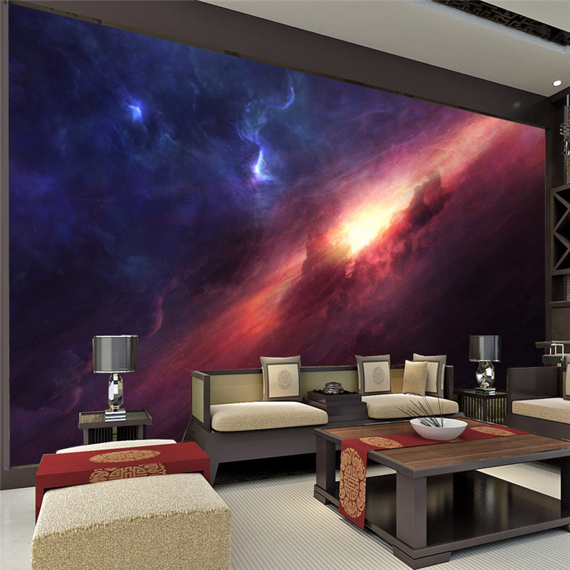 3d charming galaxy wallpaper room decor fantasy photo for Wallpaper for lounge wall
