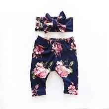 2 шт./компл. Одежда для новорожденных Для детей от 6 до 12 лет, 18, 24 месяцев Детские леггинсы для девочек; брюки-шаровары брюки+ повязка на голову