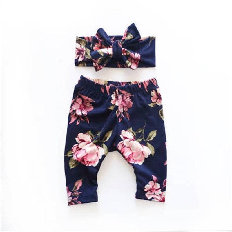 2PCS/Set Newborn 6 12 18 24 M Baby Leggings Girl Bottoms Harem Pants +Headband