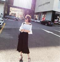 Women S Short T Shirt Fold Trousers Two Piece Suit Summer Chiffon Relaxed Leisure Flare Sleeve