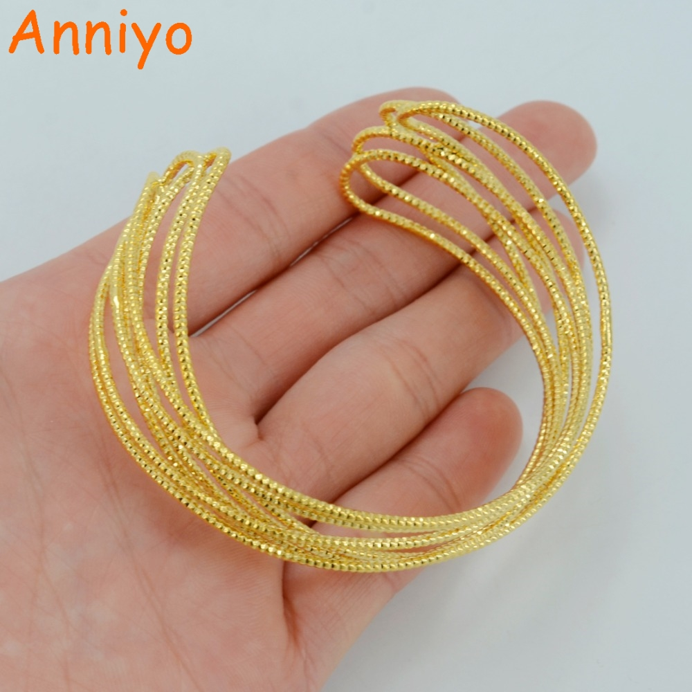 Anniyo Bangle For Women Gold Color & Copper Bracelet For Teenage Girl  Fashion Jewelry Birthday Gifts #048002