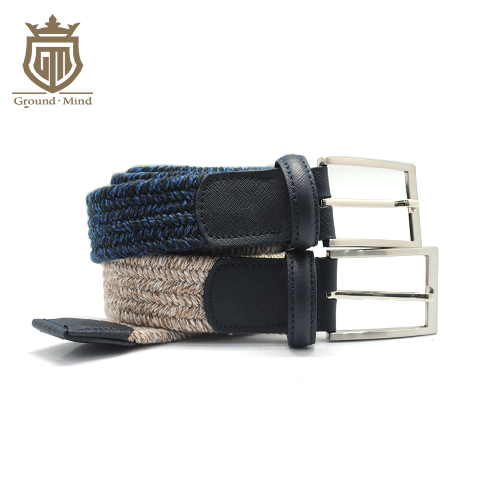 2018 Breathable Elastic Braided Men Male Canvas Belts Woven Strap Genuine Leather Tip & Head Classic Casual Style for Jeans