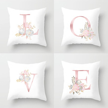 Flower Cotton Love Pillowcase Pink White Throw Pillow Case Cafe Home Shop Decor Cushion Cover Decorative 45cm 18inch