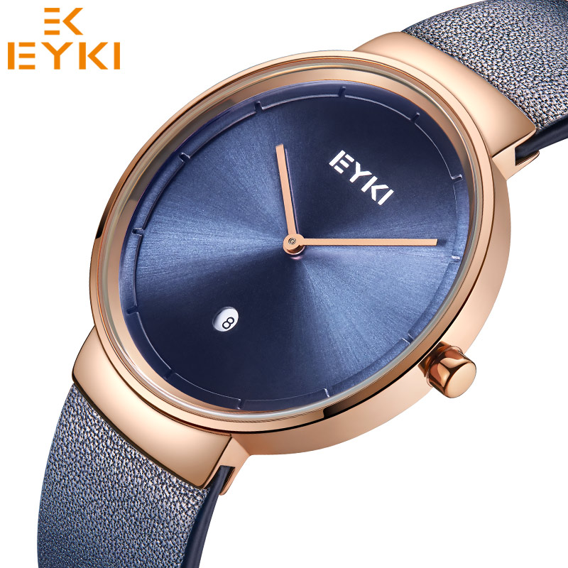 Eyki Men Women Watches Top Brand Trendy Leather lovers Quartz Wristwatch Unisex Auto Date Black Clock Relogio Feminino Gift Box eyki lovers watches simple fashion quartz watch waterproof leather strap men women christmas gift relogio feminino reloj hombre