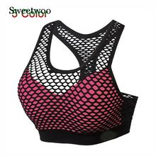 Mesh Sports Bra Hollow Out Sport Top Seamless Fitness Yoga Bras Women Gym Top Padded Running Vest Shockproof Push Up Crop Top цена