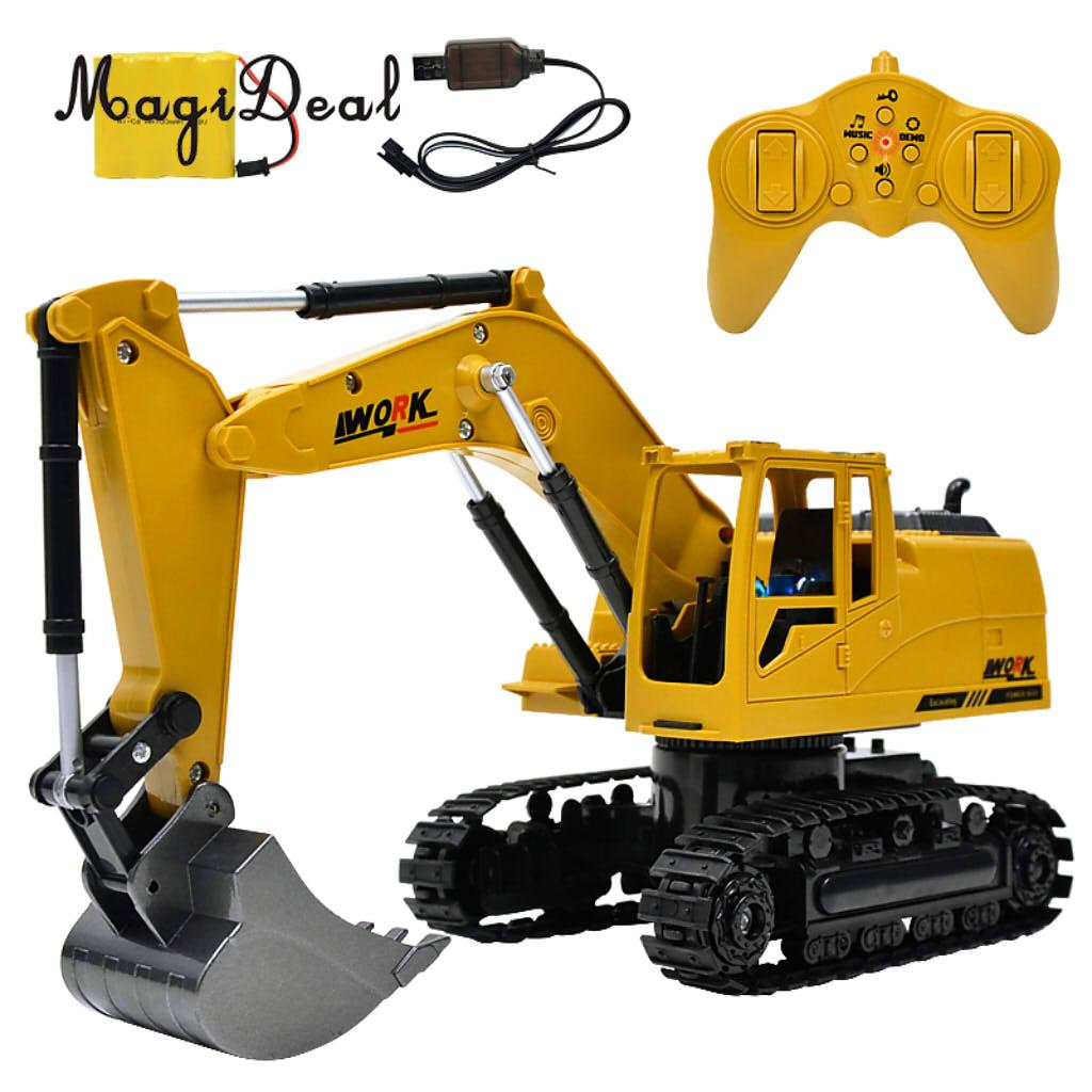 MagiDeal 1:24 Remote Control Excavator Vehicles Toy Truck with Flashing Lights Kids Children Boys Toy Birthday Gift 1 piece monster truck inertia kids toy vehicles baby boys super cars pull back blaze truck children gift toys bus open the door