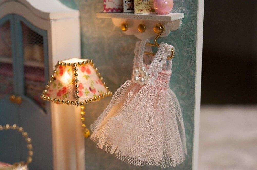 Diy houten miniatuur poppenhuis handcraft model kits slaapkamer