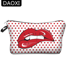 DAOXI Fashion 3D Printing Portable Cosmetic Bag Storage Women for Traveling Makeup Case Necessaries