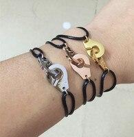 France Design Black Rope Van Handcuff Bracelet Pulseira Masculina Adjustable Knot Bracelet Menottes For Man Couple