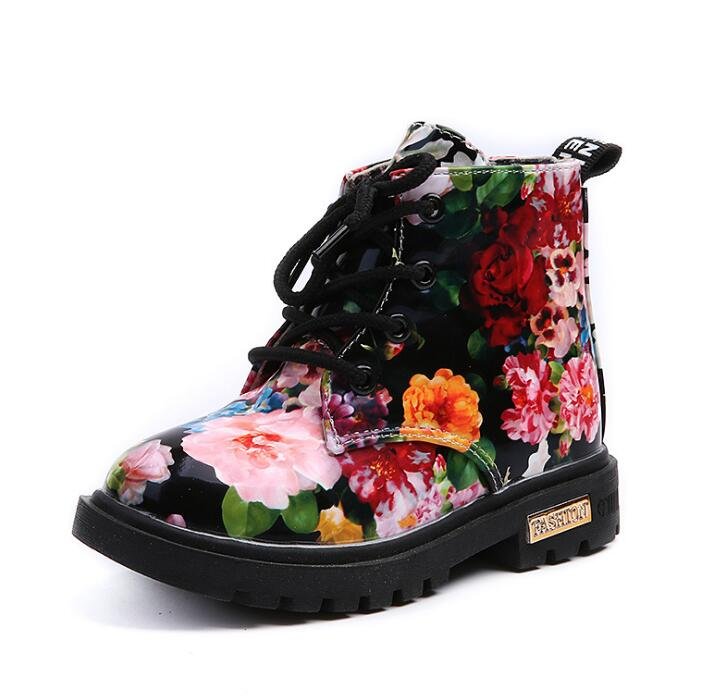 Autumn Winter PU Leather Waterproof Baby Boots Zip Rome Children Flower Printing Martin Boots Fashion Baby Girl Shoes
