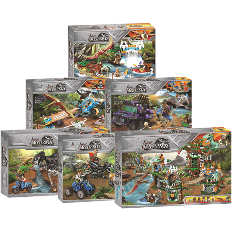2019 NEW Jurassic Dinosaurs World Park 2 Dinosaur Raptor Protection Zone Set Building Blocks Children Juguetes Toys Gifts