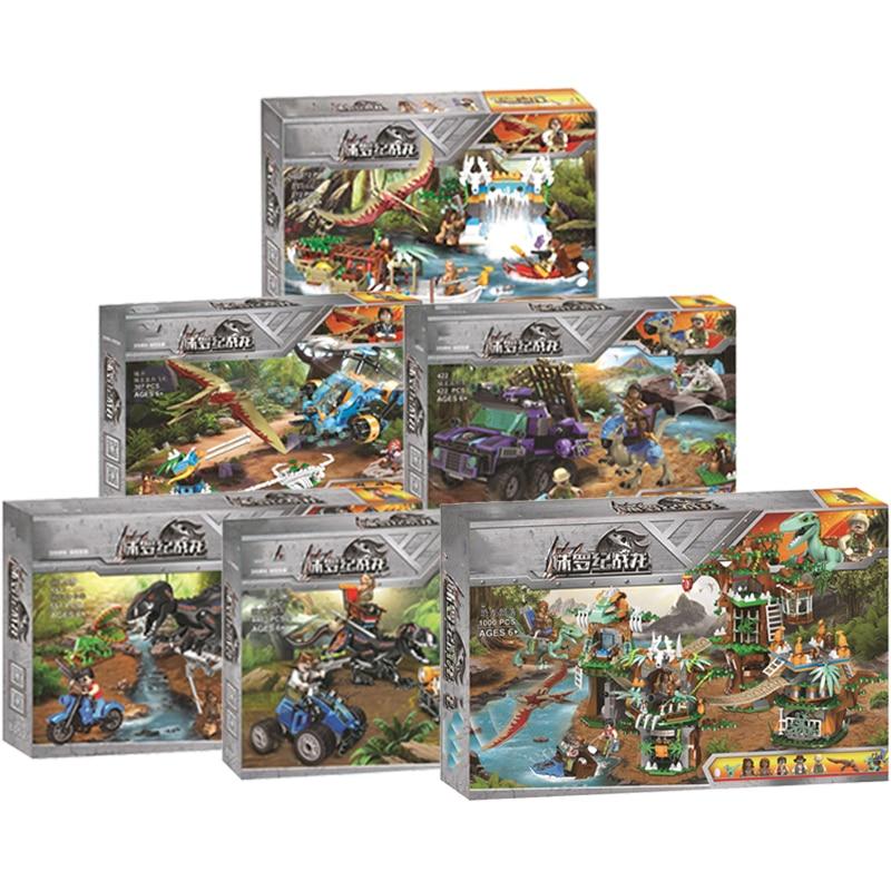 2020 NEW Jurassic Dinosaurs World Park 2 Dinosaur Raptor Protection Zone Set Building Blocks Children Juguetes Toys Gifts