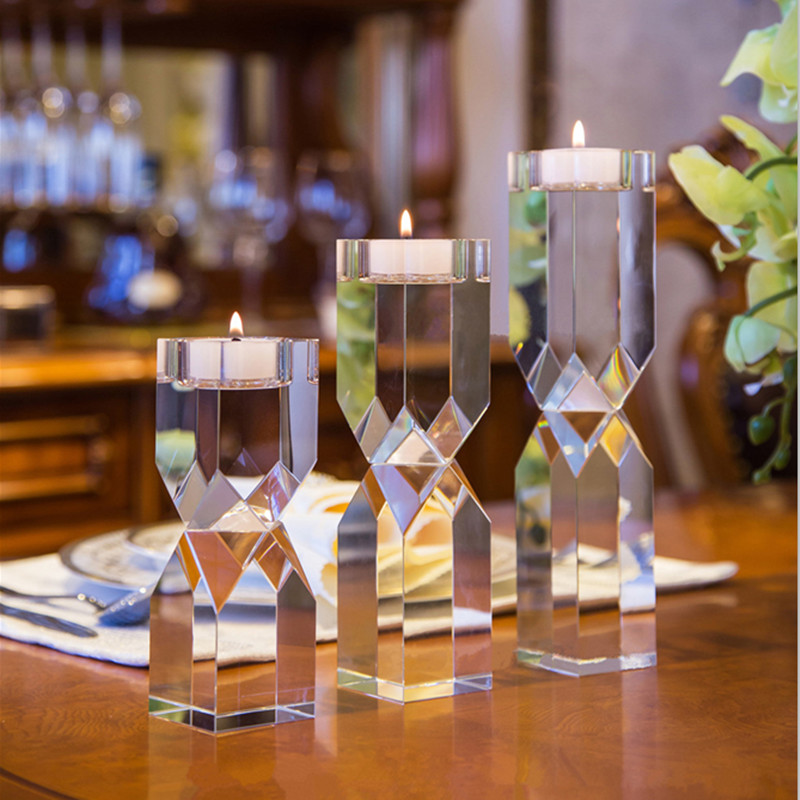 1 piece Clear Crystal Glass Tealight Candle Stand Cups Holders Europe Table wedding candelabra candlestick holder For Home Decor