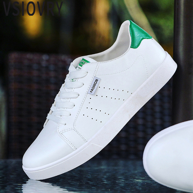 48dd1a356d1 US $16.84 41% OFF|VSIOVRY 2018 New Men's Leather Casual Shoes Spring Summer  Fashion White Sneakers Breathable Men krasovki Soft Casual Sneakers -in ...