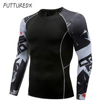 Brand Mens Long Sleeve Rashguard Running Fitness Tight Warm T-Shirts Compression Shirt MMA Gym