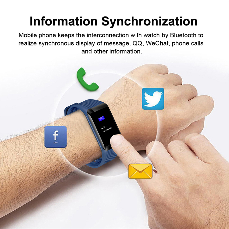 LIGE Smart Bracelet Men Color Display Wristband Heart Rate Activity Fitness Tracker Smart Sport Waterproof Watch for IOS Android in Smart Wristbands from Consumer Electronics