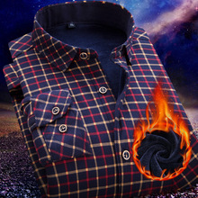 New Fashion Winter Warm Long Sleeve shirts with Thick Casual Slim Men's Plaid Shirts Male Clothing  Formal Shirt  XXXXL LM012