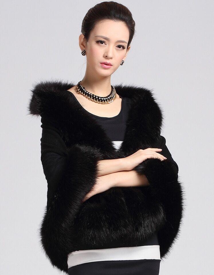noir blanc veste de mariage dhiver en fausse fourrure manteau bolero femmes veste pour - Bolero Fourrure Mariage Pas Cher