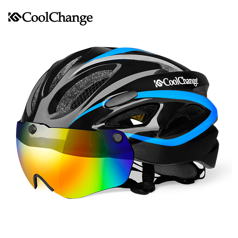 CoolChange Cycling Helmet Integrally-molded Ultralight MTB Bike Helmet With Glasses Insect Net Bicycle Casco Ciclismo 57-62 CM цена
