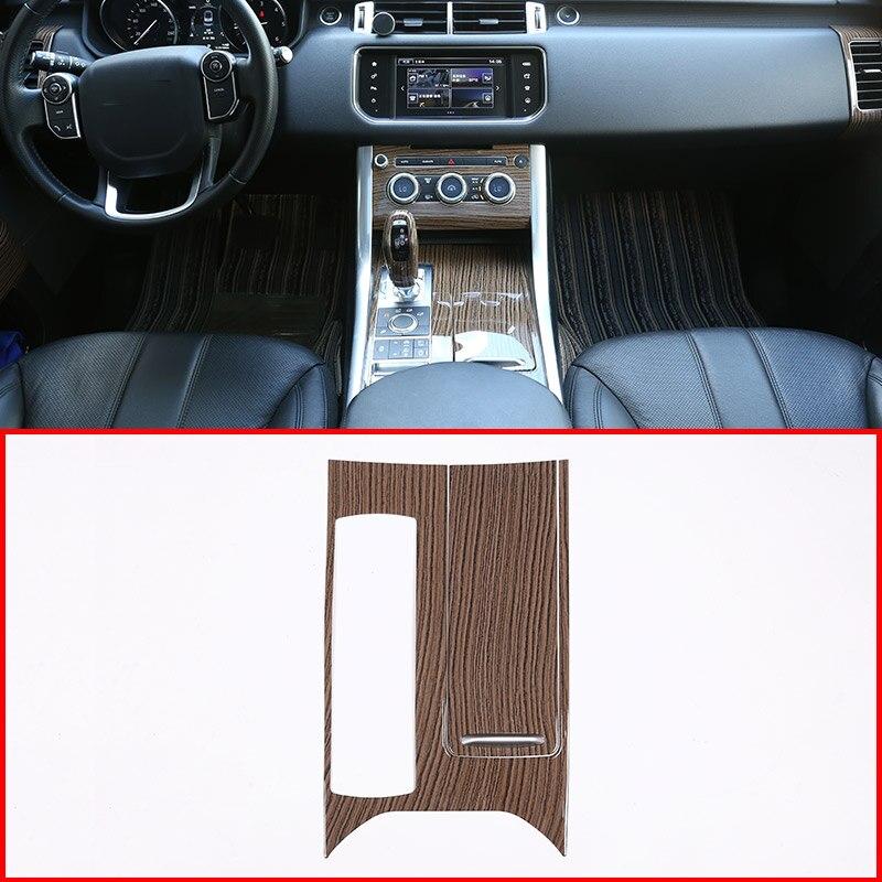 Garniture de couverture de panneau de Console centrale en plastique ABS Style Grain de bois de sables pour Landrover Range Rover Sport RR Sport 2014-2017 pièces de voiture