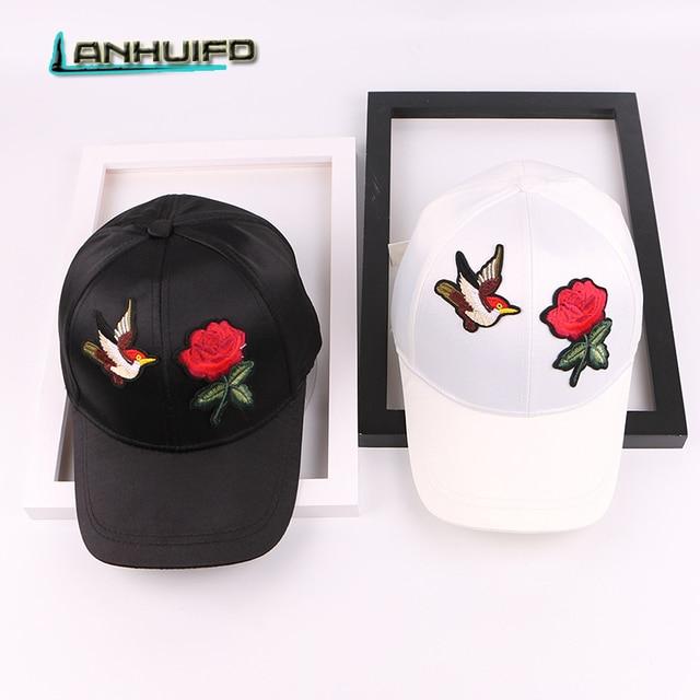 c8316d36eb4 LANHUIFD Female Spring And Summer Hat Korean Version Roses Embroidery Satin Baseball  Cap Birds Trendy Cap Traveling Sun Tide