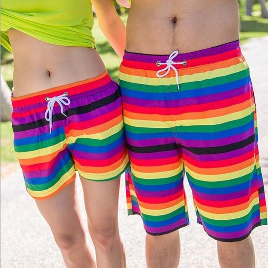 2018 New Arrive High Quality Outdoor Lovers Rainbow Beach Pant Swim Man Beach Shorts Sports Shorts