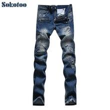 Sokotoo мужская повседневная патч ripped байкерских джинсы Повседневная тонкий синий стрейч джинсовые брюки Длинные брюки Размер 36