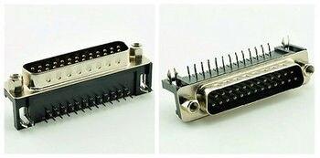 10 Uds D-SUB DB25 ángulo recto 25 Pin macho PCB conector 2 filas DR25M interfaz