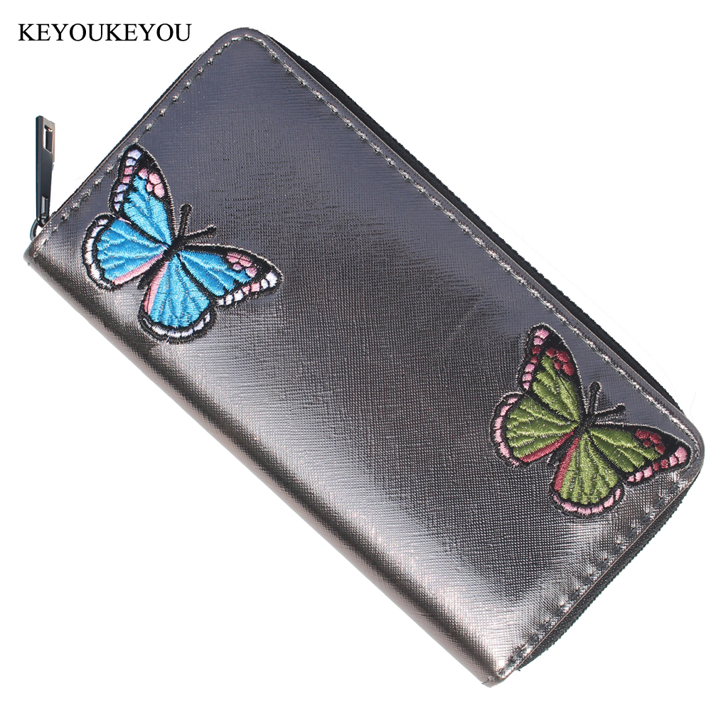 Big Capacity Womens Wallets and Purses Metal Zipper Embroidered Butterfly Organizer Lady Clutch Mobile ID Card Coin Phone Wallet fuzzy metal clutch wallet