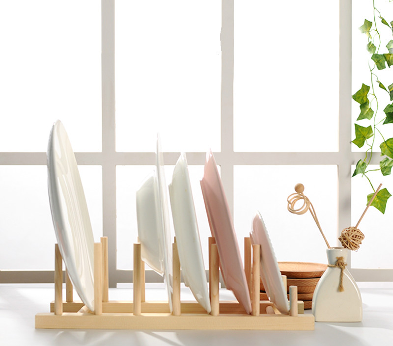 Plate Rack Holder Wood Stand Kitchen