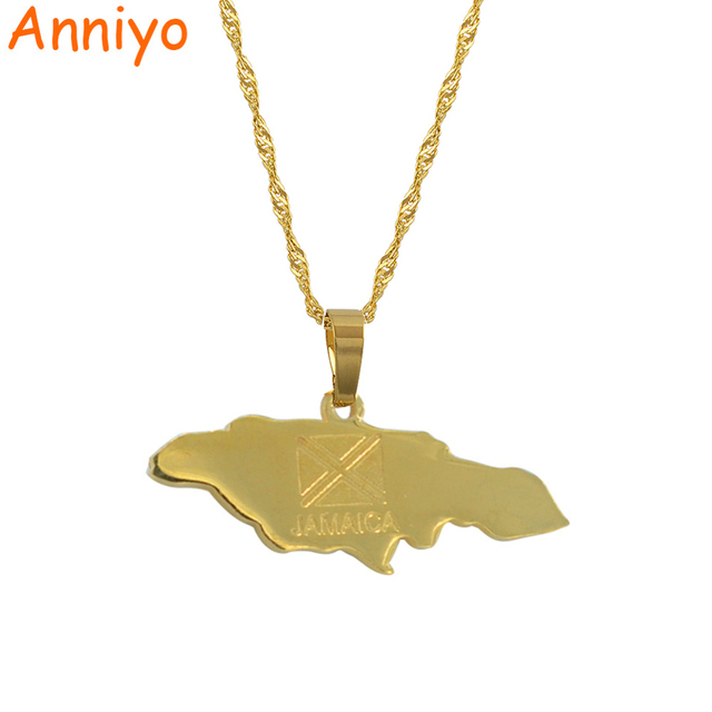 Anniyo Jamaica Map Pendant Necklaces Jewellery Gold Color Jewelry Jamaican #0020