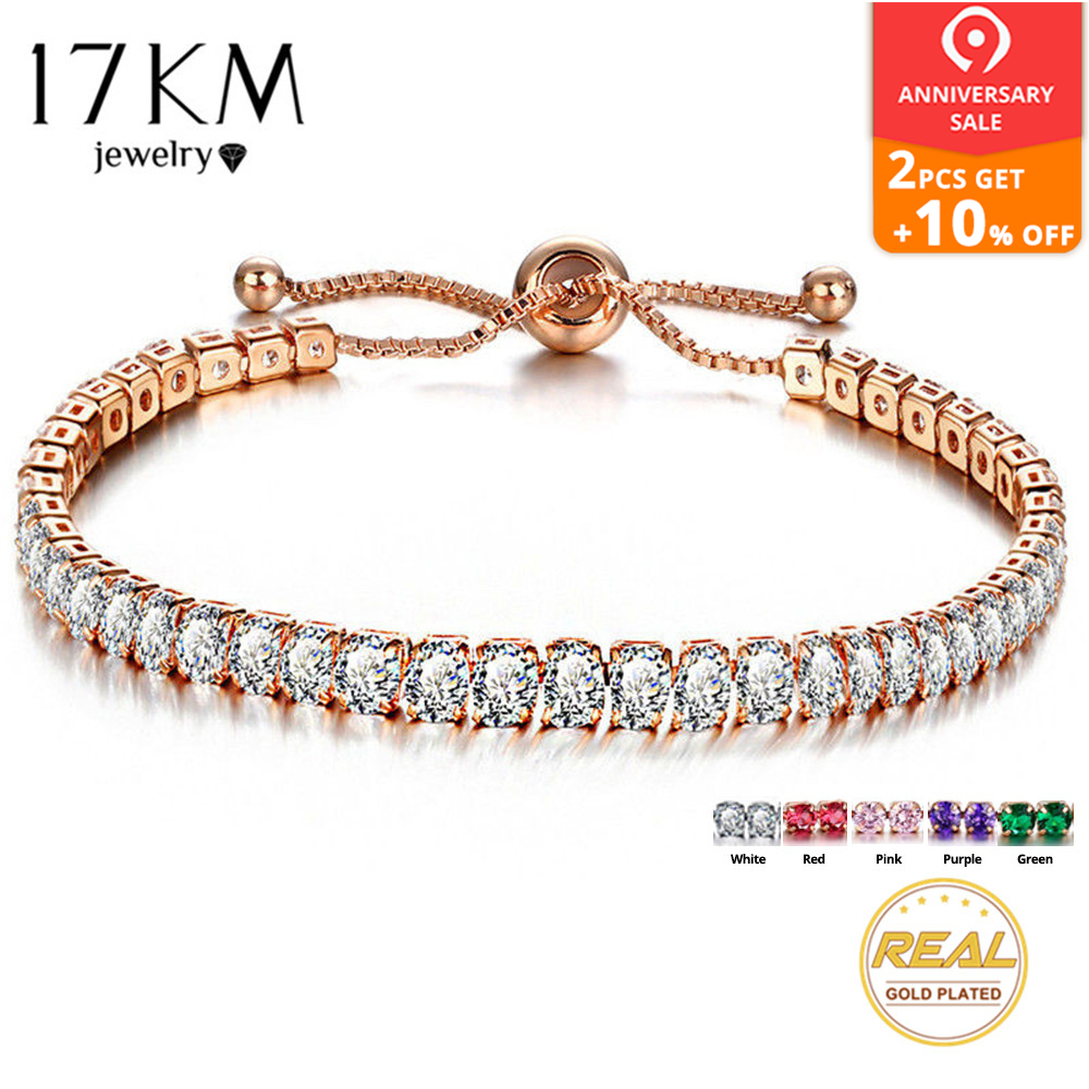 7470932ce29 17KM Fashion Cubic Zirconia Tennis Bracelet & Bangle Adjustable Pulseras  Mujer Charm Bracelet For Women Bridal. Mouse over to zoom in