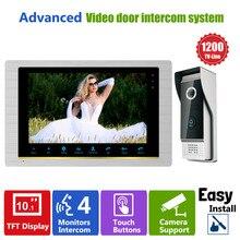 Homefong 10 pouces système dinterphone vidéo porte téléphone Vision nocturne sonnette caméra monté porte interphone moniteur IP65