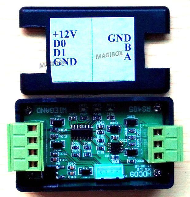 WG26/34 WG a transmisión Bidireccional RS485 WG26 Wiegand ir a convertir Puerta de control de acceso WG26