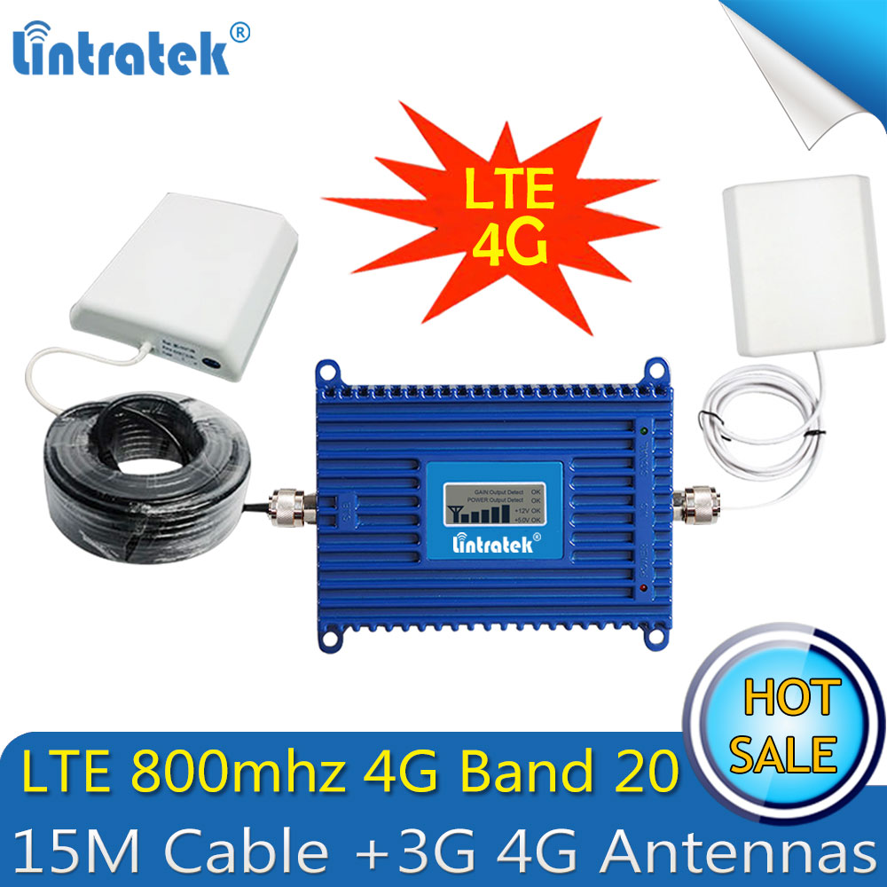 Lintratek 4G Repetidor LTE 800Mhz (Band 20) 4G Signal Booster 70dB Cellphone Cellular Signal Repeater Amplifier 4G Antennas