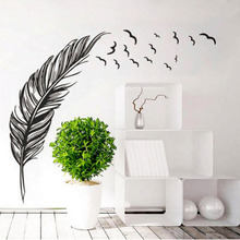 2019 New 1 Pcs Wall Sticker Home Decal Birds Flying Feather Charming Vinyl Mural Art For Kids Room Decor Decals Wallpaper