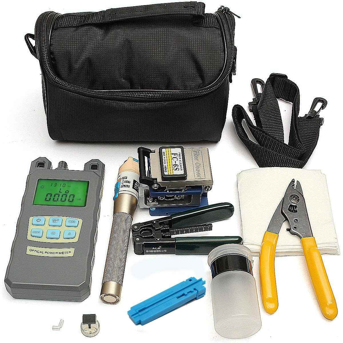 Fiber Optic FTTH Tool Kit with FC-6S Fiber Cleaver and High Precision Optical Power Meter Fiber Optic Stripper ray tricker optoelectronics and fiber optic technology