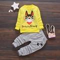 Recentes 2017 Primavera Conjuntos de Roupas de Bebê Meninas Dos Desenhos Animados Cão Longo Camiseta manga + Calça 2 Pcs Crianças Crianças Ternos Casuais Infantil ternos