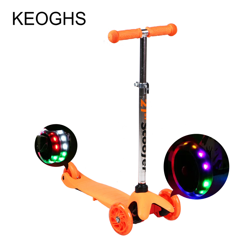 Детская Kick скутер для маленьких детей PU 3 колеса LED Открытый Спорт разборки Бодибилдинг пластиковые высоте ...