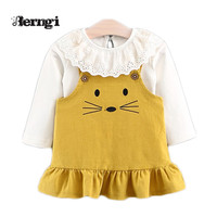 Baby Girls Dress 2017 New Autumn Brand Girls Cute Lace Doll Collar Little Mouse Patterned Kids