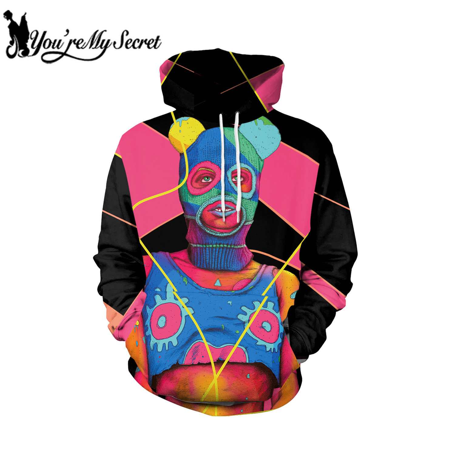 [You're My Secret] 2019 High Street Hip Hop Colorful People Digital Scrawl Unisex Hooded Sweatshirt Women's Sweatshirt with Hood