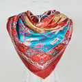 2014 Polyester Silk Scarf Printed,Fashion Women Red Big Square Scarf Shawl,New Design Jacquard Large Satin Scarves 110*110cm