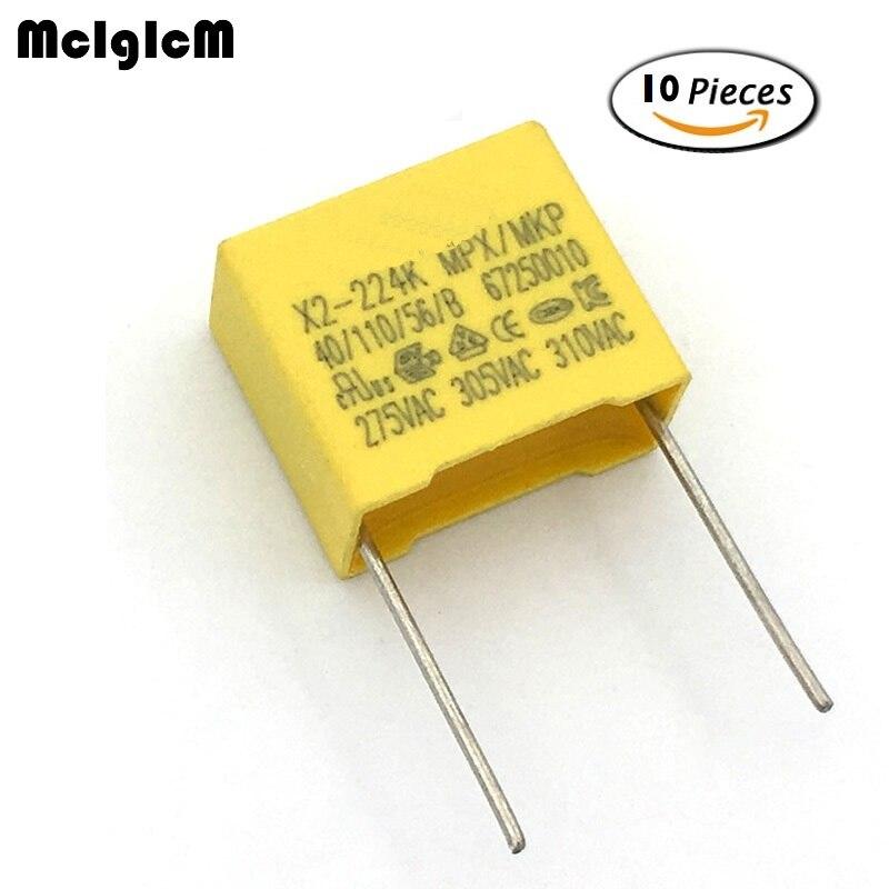MCIGICM 10pcs 220nF Capacitor X2 Capacitor 275VAC Pitch 15mm X2 Polypropylene Film Capacitor 0.22uF