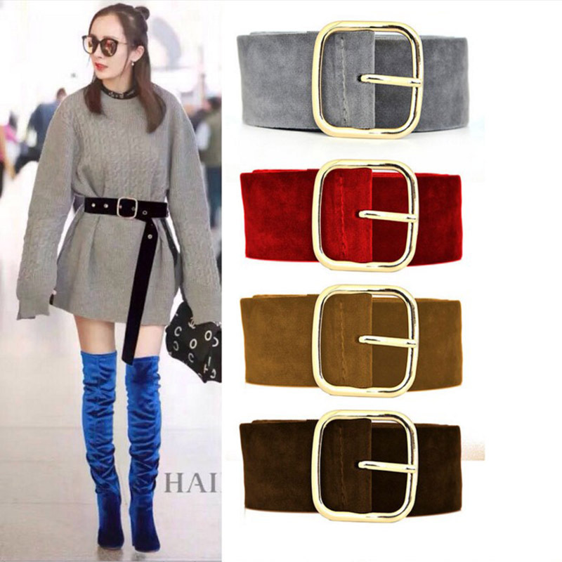 Suede Leather   Belt   For Women Long Large Velvet Waist   Belt   Square Alloy Metal Buckle Corset   Belt   Dress Female Ceintuur Women