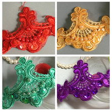 180cm Vintage Embroidered Lace Trim Beaded Ribbon Wedding  Applique DIY Sewing Craft For Bridal Garment Accessories Veil