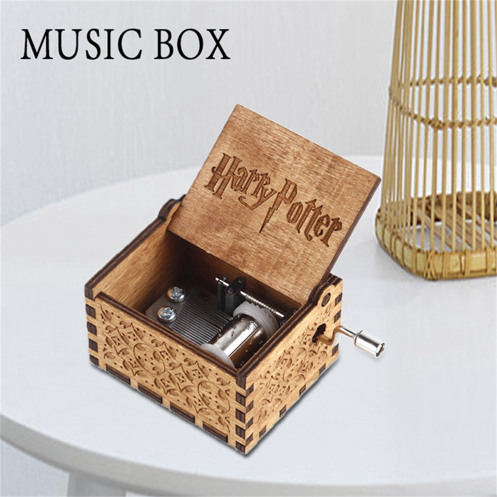 Game Of Thrones Harry Potter Star Wars Wooden Carved Mechanical Music Box Hand Crank Musical Boxes Christmas Birthday Gifts