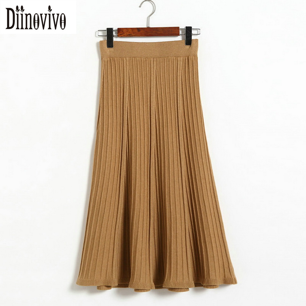 Estilo vintage da moda saia plissada mulheres saias de malha elegante 2017 nova outono inverno cintura